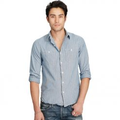 Kemeja Lengan Panjang Denim and Supply by Ralph Lauren Garis Biru