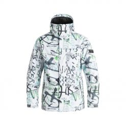 Jaket Salju Quiksilver Mission Printed Snow Jacket Original Putih eqytj03069 missionprintedjacketv wbb7 frt1 opt