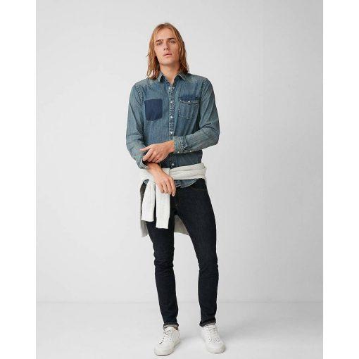 Kemeja Denim Faux Pocket Denim LS Shirt