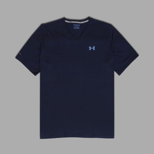 Kaos UA Mens Charged Cotton V Neck Navy1 res