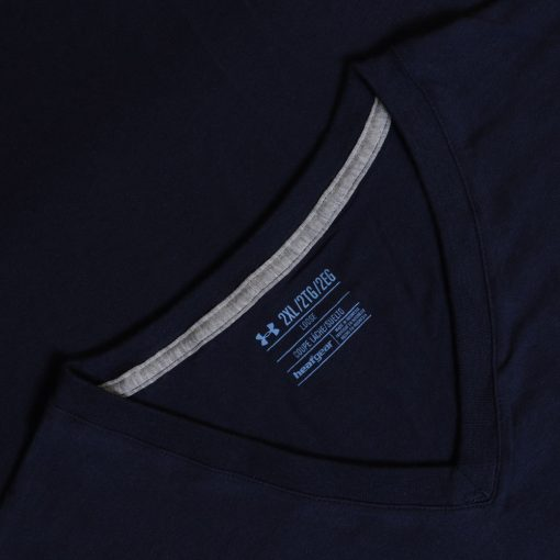 Kaos UA Mens Charged Cotton V Neck Navy2 res